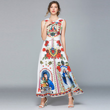 купить Women Dress Party Maxi Club Dress 2019 Summer New Lady Bohemian Print Sleeveless Slim Dress Plus Size O-Neck Long Dress Vestidos по цене 1429.63 рублей