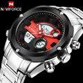 men sport watch fashion LED digital watch NAVIFORCE hot brand men quartz watch silver steel wristwatches 30M waterproof relogio