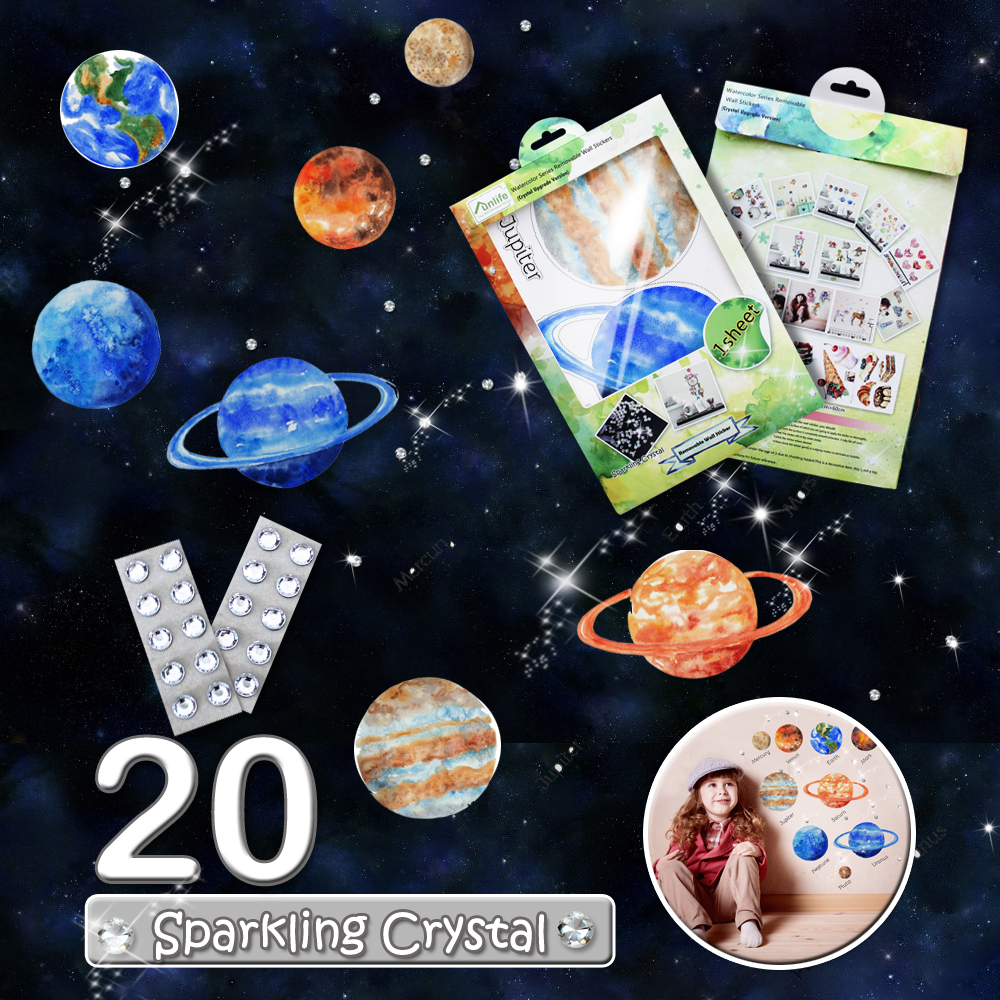 funlife Planet Universe Stars Design with 20 Crystals Peel & Stick Wall Decal Picture for Boy Room Deco BDWS007