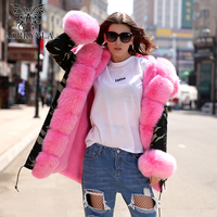 AORRYVLA Fashion Fur Collar Parka Women Winter 2017 Luxury Real Fox Hooded Long Coat Detachable Faux Liner Casual Hood Parka