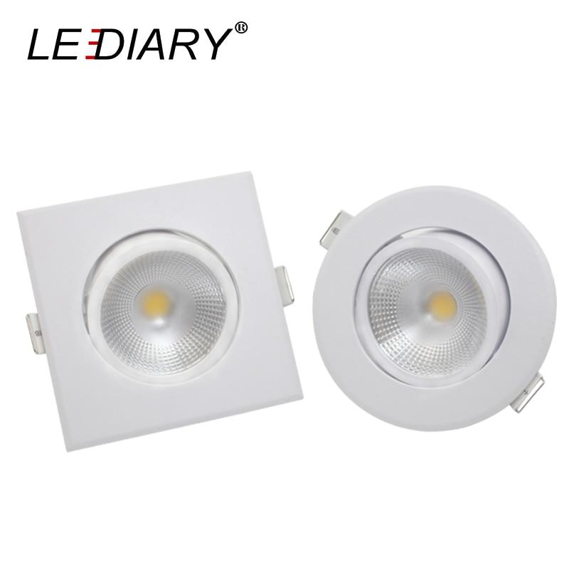 LEDIARY 10PCS Lot LED COB Downlights 75mm Cut Hole Round Square 110 220V 5W Spotlight Ceiling