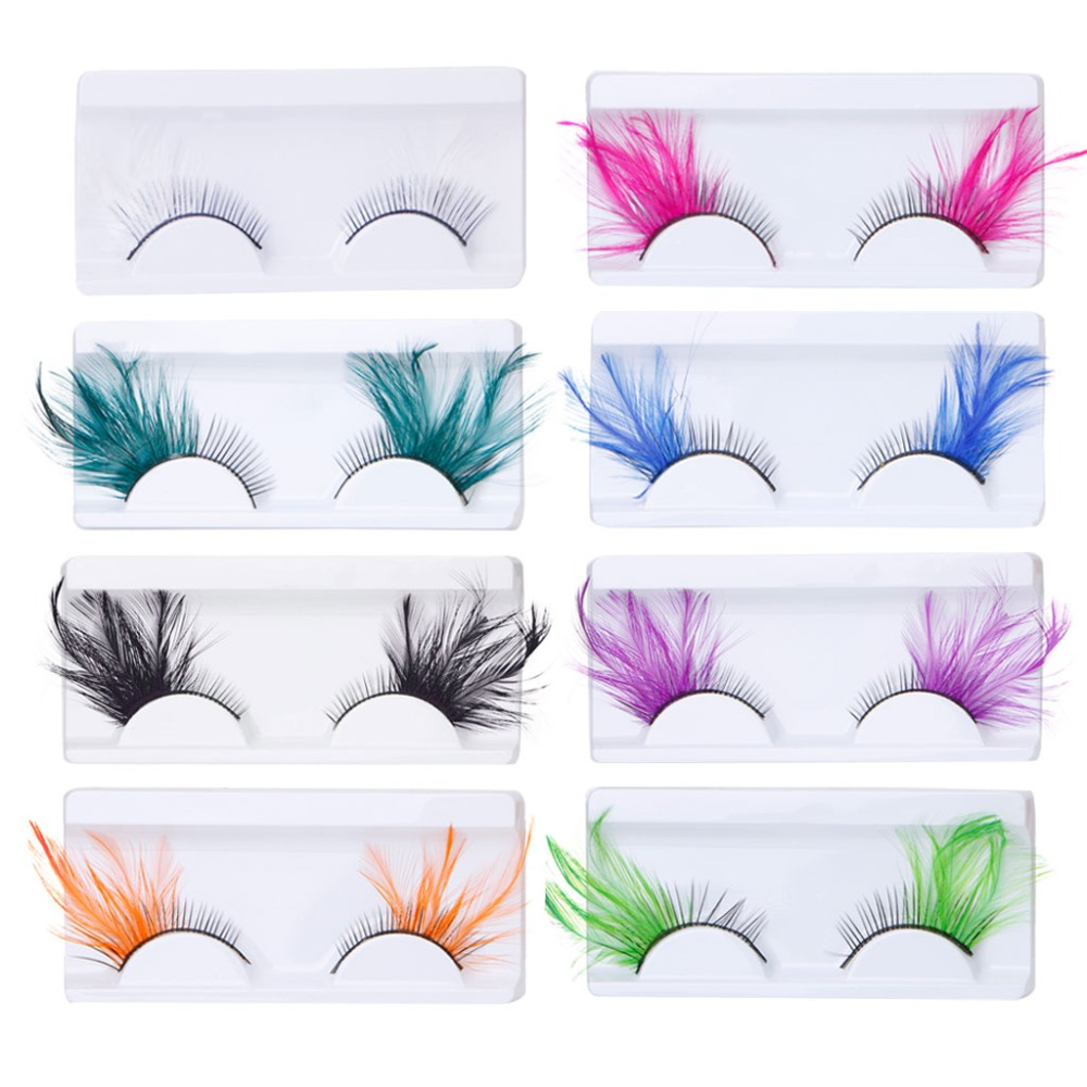 2017 Hot New 1 Pair Feather False Eyelashes Make Up Eye Lash Halloween Xmas Show Masquerade  8 Colors