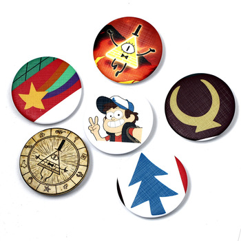 6 Types Gravity Falls Bill Dipper Mabel Figure Model Pins Broches 4.5cm Round Tinplate Badge Jewelry For Bag And Lapel Fans Gift e services logo