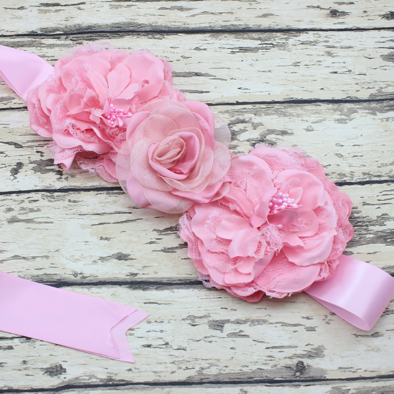Flower Belts For Wedding Dresses: Wholesale Large Flower Sash Belt Lace Wedding Garter Belt