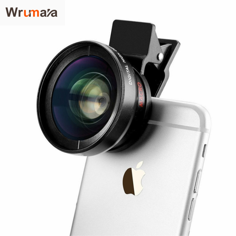 Wrumava HD 37MM Lens Super 0.45x Wide Angle 12.5x Macro Phone Lenses For iPhone 6 5S 7 Samsung S6 S7 Edge Camera lens Kit
