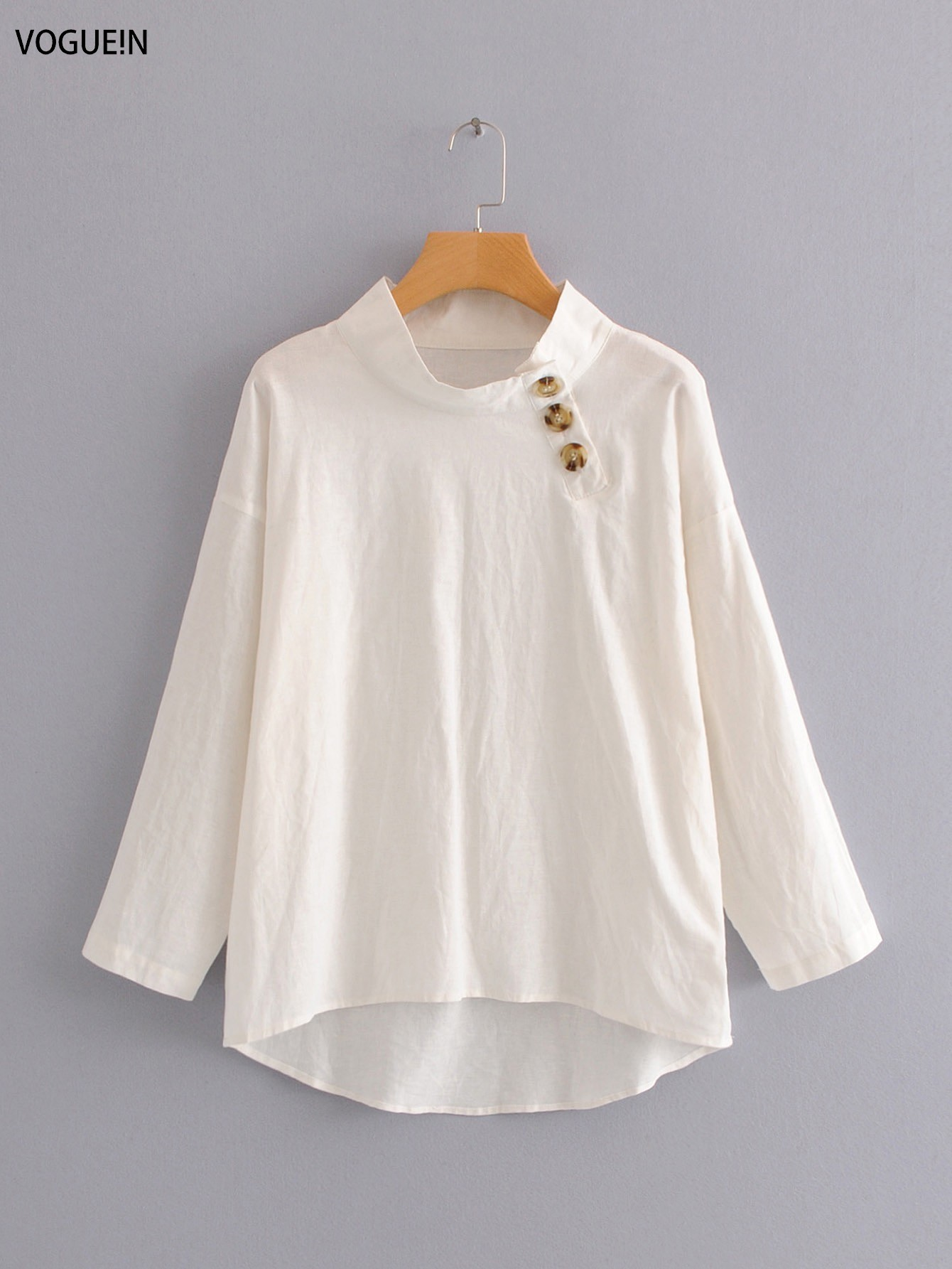 VOGUEIN New Womens Buttons Decoration Long Sleeve Pullover   Blouse     Shirt   Tops Wholesale