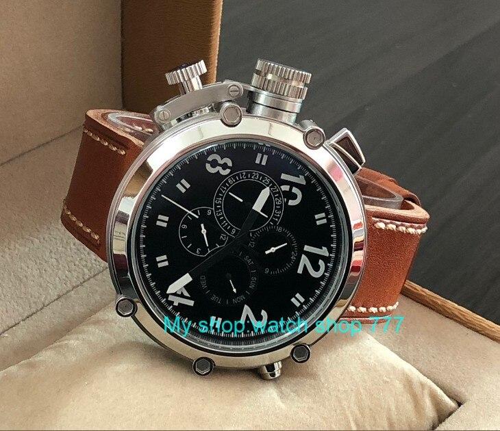 50mm parnis zwarte wijzerplaat linkerhand type Automatische Self Wind beweging multifunctionele lichtgevende mannen horloges pa64 p8-in Mechanische Horloges van Horloges op  Groep 2