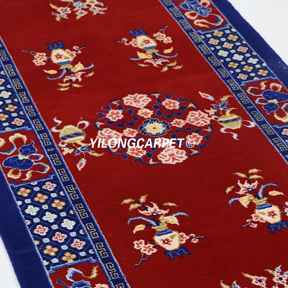 YILONG 2.5'x6' Chinese red hand knotted corridor stairs carpet runner wool rug (TJ021S2.5x6)