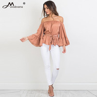 Avodovama M Apparel Sexy Off Shoulder Ruffle Bow Blouse Shirt Soft Satin Flare Sleeve Summer Tops