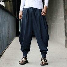 INCERUN % 2021 pamuk Harem pantolon erkekler japon gevşek Joggers pantolon erkek çapraz pantolon kasık pantolon geniş bacak dökümlü pantolon erkekler