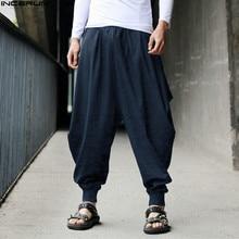 hot deal buy incerun cotton harem pants men japanese loose boho joggers trousers man's  cross-pants crotch pants wide leg baggy pants men
