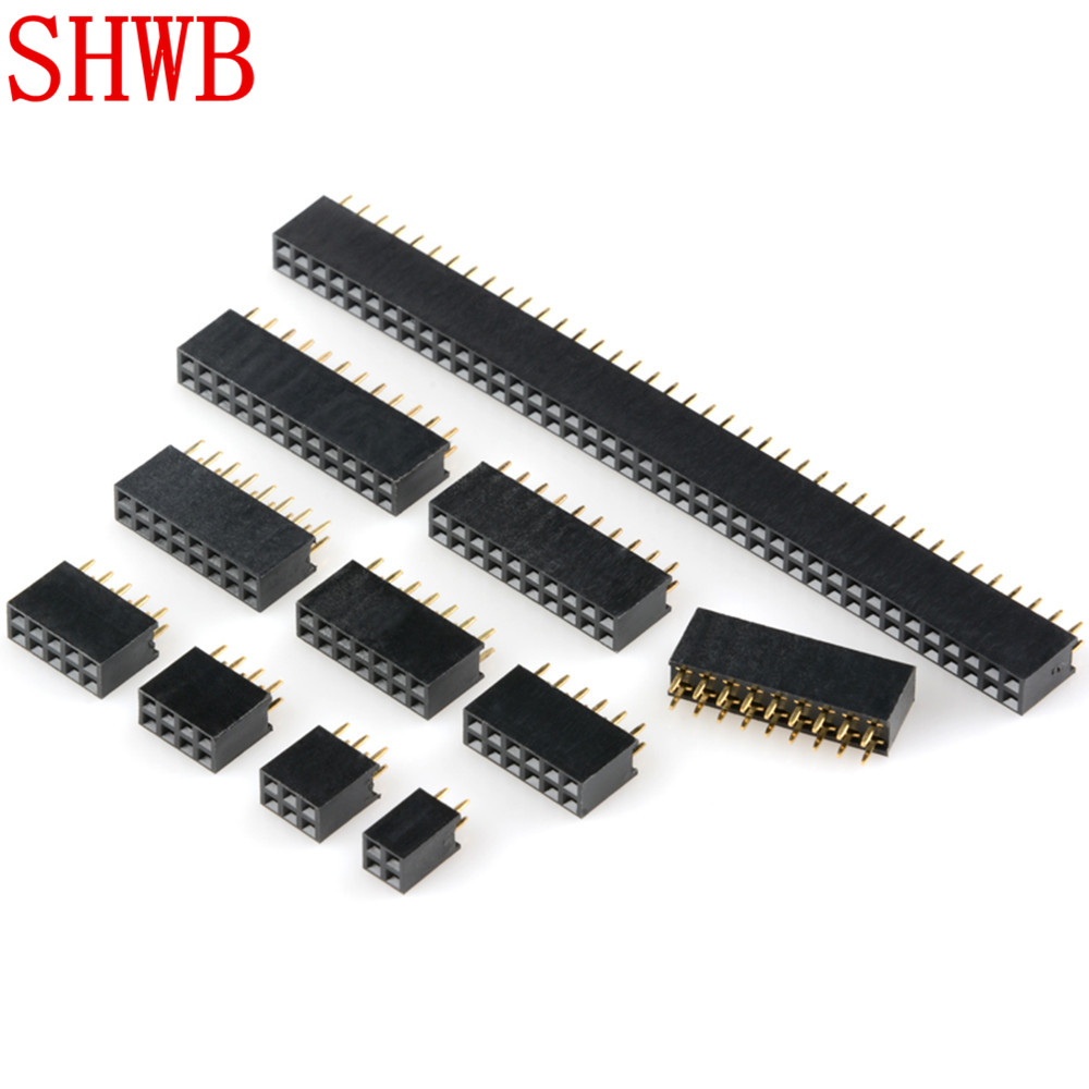 2x2/3/4/5/6/7/8/9/10/11/12/13/14/15/16/17/18/20/25/40Pin Pitch 2.54mm Double Row Stright Female Pin Header Strip PCB Connector