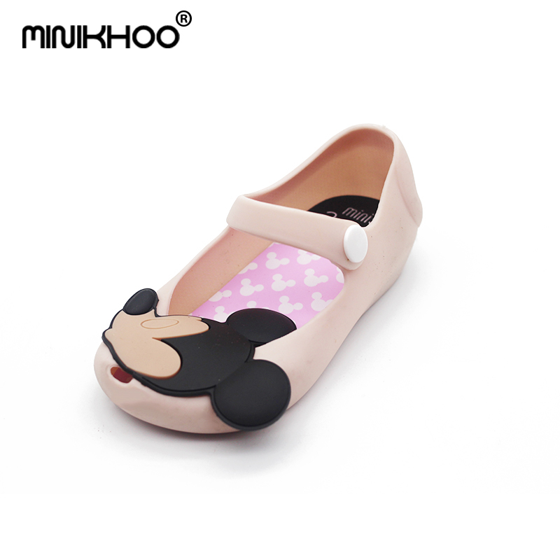 Mini Melissa Pink Mickey 2018 Girls Jelly Sandals Girls Sandals Cute Girls Shoes Children Beach Shoes For Girl Shoes 13cm-15.5cm