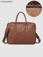 CARANFIER Mens Briefcase Simple Solid Ducument Bags Leather Business Laptop Computer Bag Crossbody Soft Handle Zipper Travel Bag