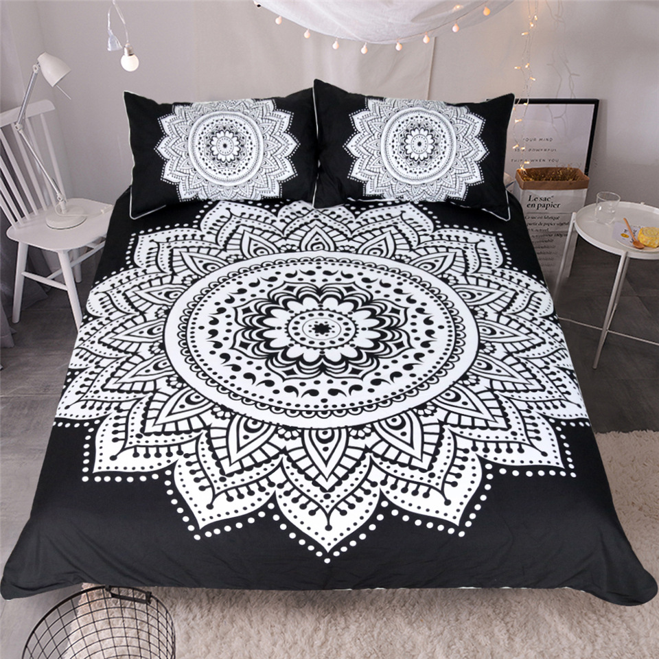 CAMMITEVER Black White Lotus Bedding Set King Printed Duvet Cover Home Textiles Microfiber Bedclothes 3 Piece-in Bedding Sets from Home & Garden
