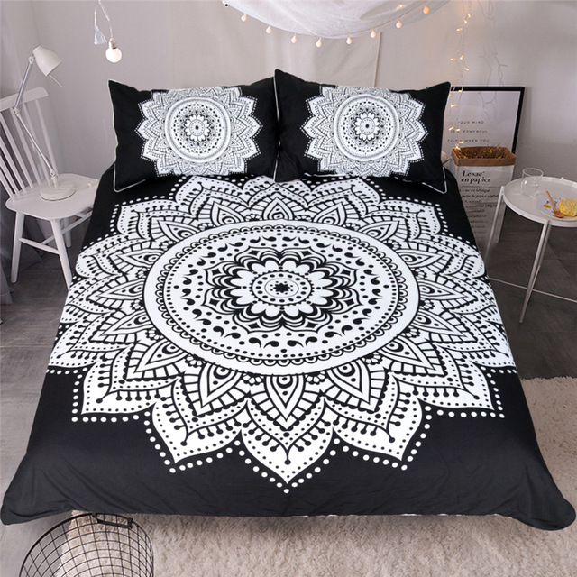 CAMMITEVER Black White Lotus Bedding Set King Printed Duvet Cover Home Textiles Microfiber Bedclothes 3 Piece