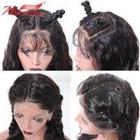 Али удивительные волосы Бразильский Glueless 360 кружева фронтальной парики натуральный черный 1B цвет тела волна человеческих волос парики с дл