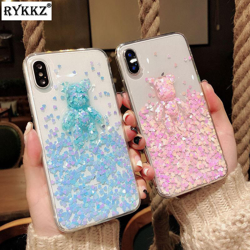 3D Cartoon Glitter Heart Bear Case for iPhone X Transparent Soft Silicon  Capa Funda for iPhone 7 8 6S Plus Case Hoesje for Girl 6fd08511c32e