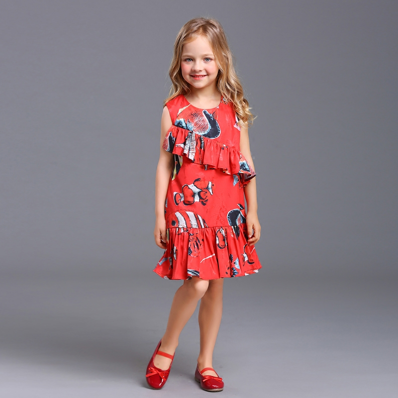 Summer family look clothes children tropical fish sleeveless A-line baby girl chiffon dress mother daughter matching beach dress цена