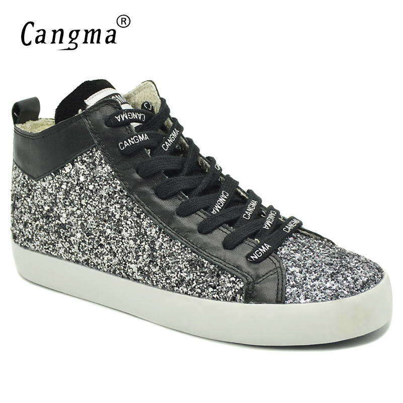 CANGMA Stylish Brand Sneakers Women Sequined Shoes Black And White Glitter Woman s Casual Shoes Mid