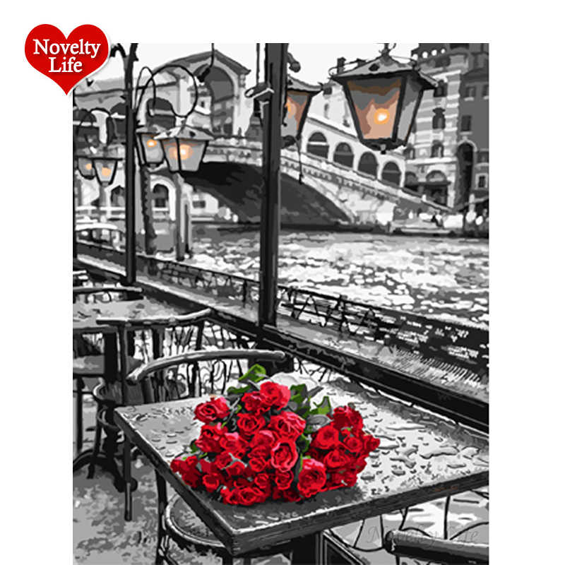 No Frame Picture By Numbers DIY Digital Canvas Red Rose Oil Painting Acrylic Home Decor Living Room Wall Art Coloring 40*50F31