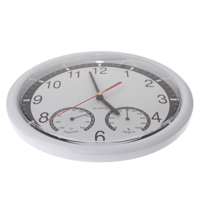 "10"" Silent Wall Clock Decorative Thermometer & Humidity Meter Non-ticking"