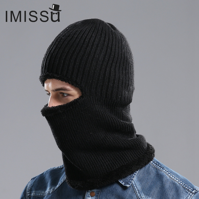 IMISSU мужская Зимняя Шапка Вязаная Шерстяная Шапочка Открытый Шляпы Капот Skullies Сплошной Цвет Muts Casquette Gorros Балаклава Cap для мужчины
