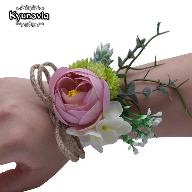 Kyunovia bridesmaid hand flowers womens wedding bracelet bridal kyunovia bridesmaid hand flowers womens wedding bracelet bridal prom wrist corsage blush pink silk flowers corsage mightylinksfo