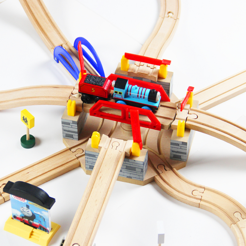 Thomas and Friends --Big Luxury Multifunction Turntable Switch Track Wood Train Slot Railway Accessories Original Toy For Kids