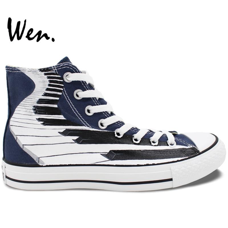 ФОТО Wen Blue Hand Painted Shoes Original Design Custom Piano Keyboard Men Women's High Top Canvas Sneakers Birthday Gifts