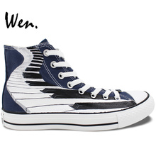 Wen Blue Hand Painted Shoes Original Design Custom Piano Keyboard Men Women's High Top Canvas Sneakers Birthday Gifts