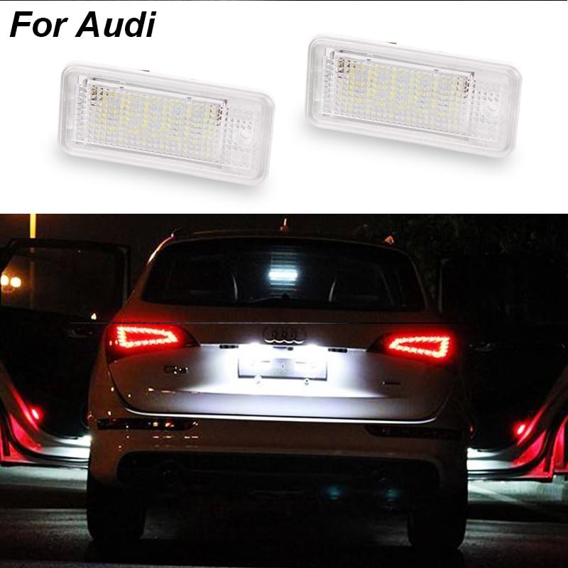 2PCS License Number Plate Light 12V SMD3528 Led License Plate Light Lamp For Audi A4 A3 S3 S4 B6 B7 A6 C6 S6 A8 S8 RS4 RS6 Q7 0001108175 0986018340 458211 new starter for audi a4 a6 quattro volkswagen passat 2 8 3 0 4 2 l