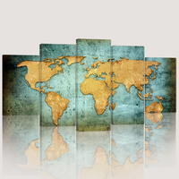 HD Printed 5 Pieces Art Huge World Map Canvas Painting Printed on Canvas Wall Pictures Poster for Living Room Decoration
