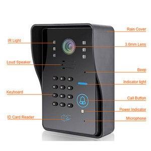 """Image 2 - Nuovo videocitofono cablato da 7 """"videocitofono RFID numero codice tastiera campanello Monitor telecamera sblocco Wireless + serratura elettrica"""