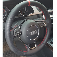 For Audi High Quality Hand stitched Anti Slip Black Leather Red Thread DIY Steering Wheel Cover