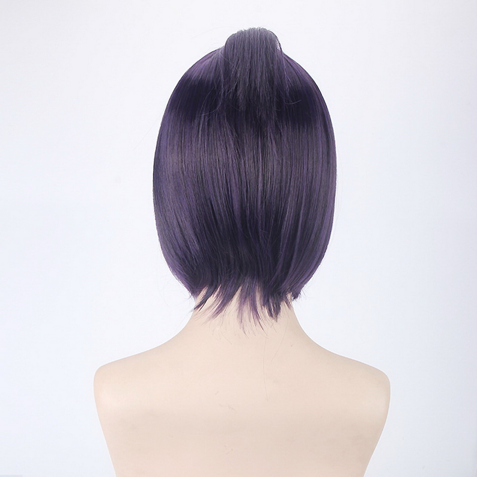 HITMAN REBORN Short Cosplay Wig Purple Dark Blue Synthetic Hair Kuromu Dokuro Anime Halloween Costume Party Wigs For Women