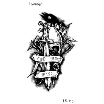 Immortal Knight Waterproof Temporary Tattoos Men Warrior Tatouage Temporaire Femme Tatoo Temporary Stickers image
