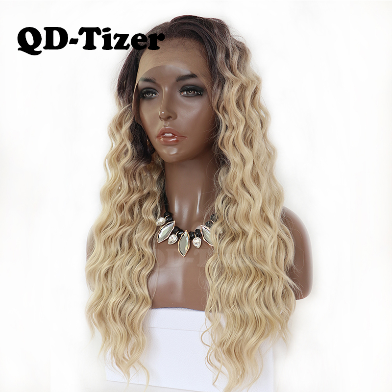 QD Tizer Blonde Hair Long Kinky Curly Ombre Blonde Lace Front Wig Glueless Dark Root Synthetic