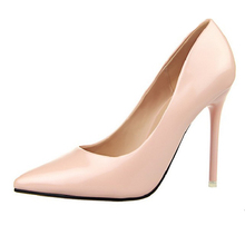 Patent Leather Gold Silver Pink Nude 12 Color OL Career Work Dress Shoes Pointed Toe High Heel Women Stiletto Shoes Wedding Sexy