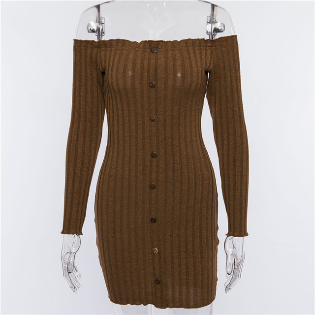 Ins Fashion Kyliejenner Dresses Women 2018 Autumn Sexy Off Shoulder Women Knitted Sweater Dress Casual Long Sleeve Stretch Dress 5