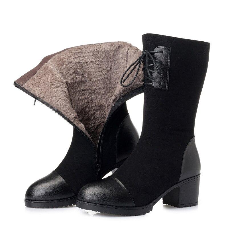 001 Marke Winter Martin Leder 2018 Schnee Black Kuh Komfort Warme Stiefel Zxryxgs Frau Kalt black rohr Schuhe 002 Beständig Neue In dxPZUa