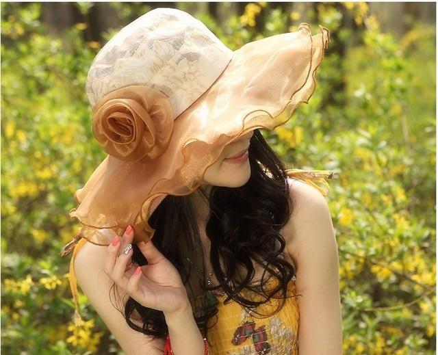 Verano femenino sombrero para el sol UV sombrero de sol plegable de playa Femenino sombrero para el sol
