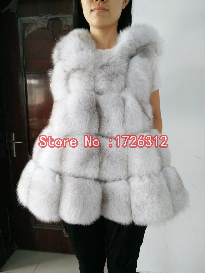 2019 liščí kožešina s kapucí středně dlouhá celokožená kožená vesta plášť dámské svrchní vesty dámské vesty