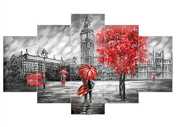 DIY Diamond Painting Cross Stitch Kits Diamond Embroidery scenic London tower car Full Diamond Mosaic Needlework 5pcs/set