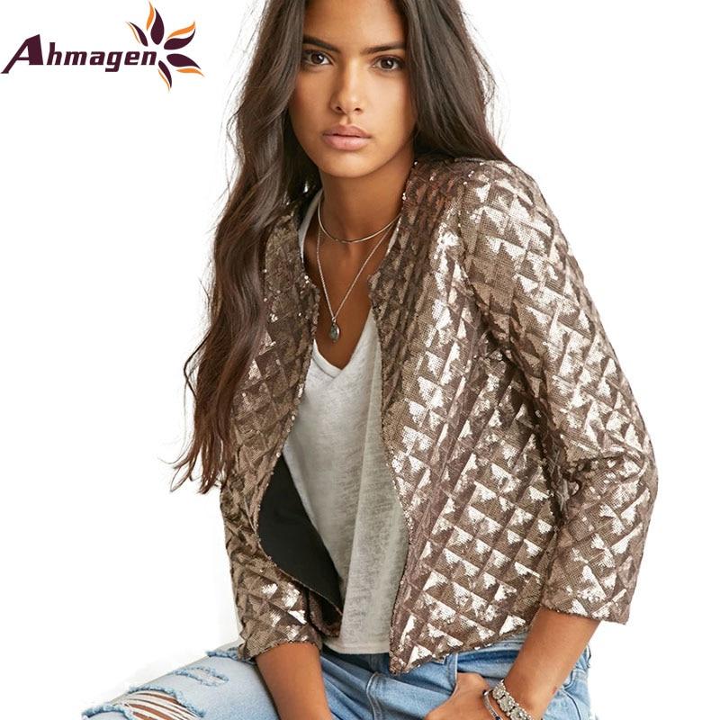 2016 New Autumn Winter Womans Coats Vogue Lozenge Bomber Jacket Women Gold  Sequins Jackets Three Quater - Online Get Cheap Womens Bomber Jacket Vogue -Aliexpress.com