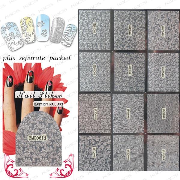 2015 NEW 90PCS/lot 3D nail sticker  BM001-024Silver Gold and Silver  version of metallic jewel fantasy nails nail