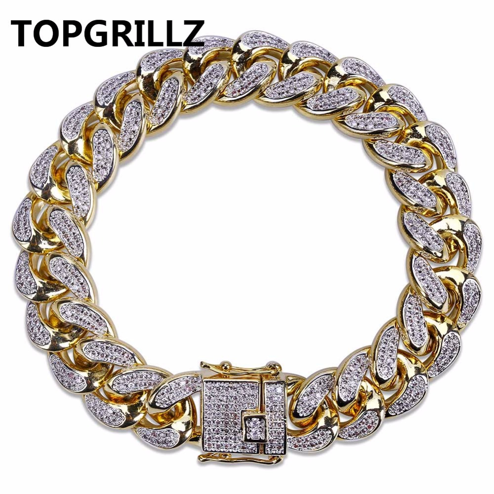 TOPGRILLZ Hip Hop Male Jewelry Bracelet Copper Iced Out Gold Color Plated CZ Stone 14mm Chain Bracelets With 7 8 Two sizes topgrillz spikes rivet stud mens rivet charm bracelets 2018 iced out gold silver color bracelets for men hip hop punk jewelry