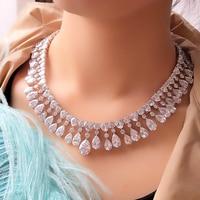 UILZ Newest Water Drop Design Jewelry Set Cut Pear AAA Cubic Zircon Drop Earring Necklace For Bride Wedding US385
