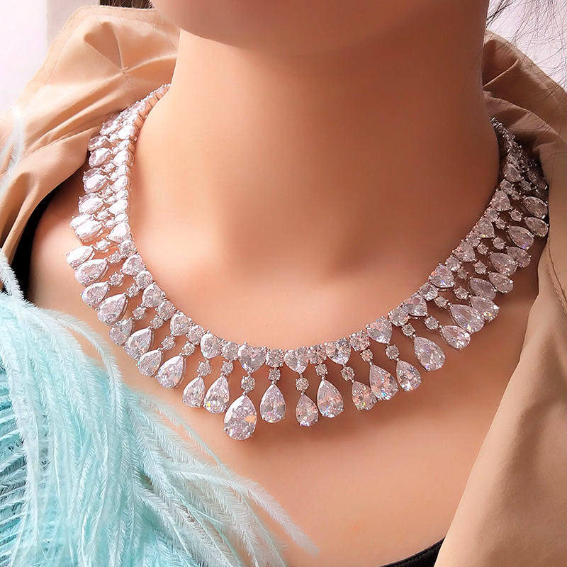UILZ nuevo diseño de gota de agua conjunto de joyas corte pera AAA zirconia cúbica gota Collar para novia boda US385-in Conjuntos de joyería from Joyería y accesorios    1