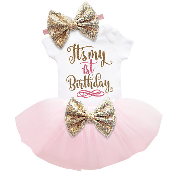 Baby Clothes Gold Bow 6 Months 1st 2nd Birthday Dress For Baby Girls 1